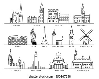 14 European Cities Landmarks, Linear Vector Style