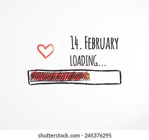 14. February loading. Love loading. Progress bar design. Happy Valentines Day concept. Vector illustration.