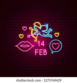 14 February Neon Label. Vector Illustration of Romance Promotion.
