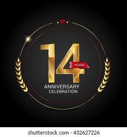14 golden anniversary logo with red ribbon, low poly design number