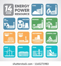 14 icon of energy bio fuel, biomass, landfill gas, coal, natural gas, oil, nuclear, wave, tidal, hydro, wind, solar cell, solar thermal, geothermal