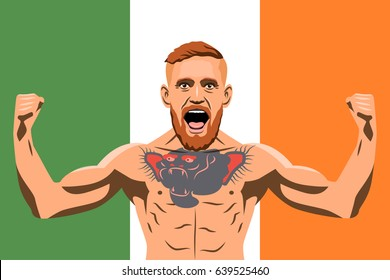 14 May, 2017. Famous fighter mma Conor McGregor against the background of the Irish flag