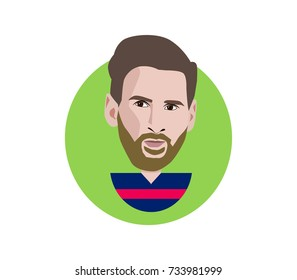 14 Oct 2017,Spain,Lionel Messi flat icon vector portrait