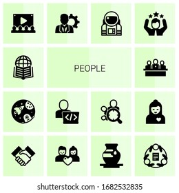 14 people filled icons set isolated on white background. Icons set with Affiliate Marketing, space, Developer, developers team, Audience, manager, astronaut, celebration icons.