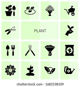 14 plant filled icons set isolated on white background. Icons set with Garden pruner, Gardening tools, Gardening scissors, Gardening, seeds, bouquet, Garden services, Floral design icons.