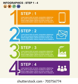 1-4 step slide timeline numbers infographics design template, process diagram, Vector illustration EPS10.