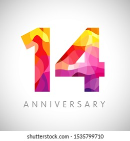 14 th anniversary numbers. 14 years old multicolored logotype. Age congrats, congratulation art idea. Isolated abstract graphic design template. Coloured 1, 4 digits. Up to 14% percent off discount.