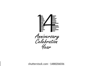 14 year anniversary celebration Block Black Colors Design logotype. anniversary logo Black color isolated on White background, vector design for celebration, invitation card, and greeting card-Vector