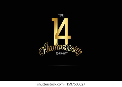 14 year anniversary celebration logotype. anniversary logo with golden color isolated on black background  - Vector