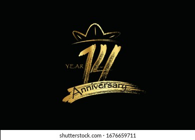 14 year anniversary chalk, ink Gold Style , minimalist logo. years, jubilee, greeting card. Birthday invitation sign. Gold space vector illustration on Black background - Vector