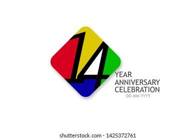 14 year anniversary, minimalist logo years, jubilee, greeting card. invitation - Vector