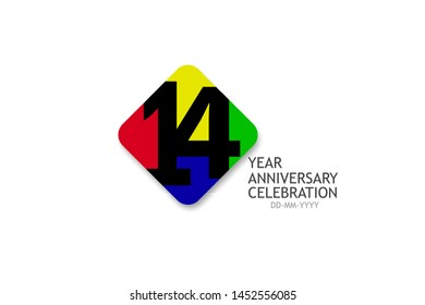 14 year anniversary, minimalist logo years, jubilee 4 colors red, yellow, green and purple, greeting card. invitation - Vector