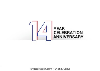 14 year anniversary, minimalist logo years, jubilee, greeting card. invitation. Sign Blue & Red Colors vector illustration on White background - Vector