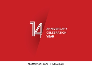 14 year anniversary, minimalist year logo jubilee, greeting card. Birthday invitation. White space vector illustration on white background - Vector