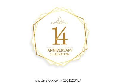 14 year anniversary, minimalist logo. Gold  vector illustration on white background - vector