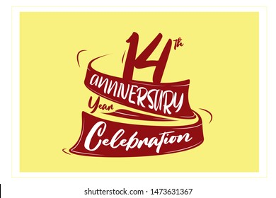 14 year anniversary Red Ribbon, minimalist logo, greeting card. Birthday invitation. 14  year sign. Red space vector illustration on yellow background - Vector