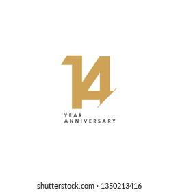 14 Year Anniversary Vector Template Design Illustration