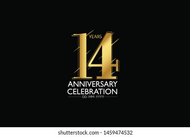 14 year minimalist logo years, jubilee, greeting card. Birthday invitation. Sign Gold space vector illustration on black background - Vector