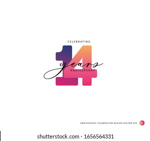 14 years anniversary or birthday celebration design template Vector.