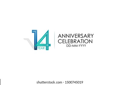 14 years anniversary celebration Blue and Tosca Colors Design logotype. anniversary logo isolated on White background, vector Horizontal number design for celebration, invitation card -vector