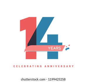 14 years anniversary celebration colorful logo with fireworks on white background. 14th anniversary logotype template design for banner, poster, card vector illustrator