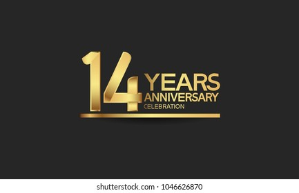 14 years anniversary celebration with elegant golden color isolated on black background