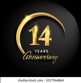 14 years anniversary celebration. Anniversary logo with ring and elegance golden color isolated on black background, vector design for celebration, invitation card, and greeting card