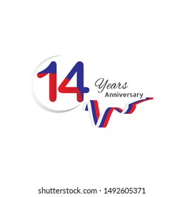 14 years anniversary celebration logo type blue and red colored, birthday logo on white background