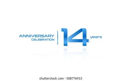 14 years anniversary celebration logo, blue, isolated on white background