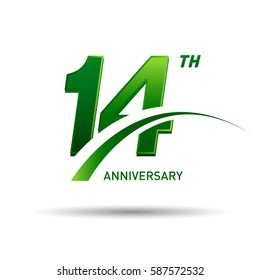 14 years anniversary. celebration logo design