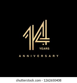 14 years anniversary celebration logotype. anniversary logo with golden and silver color isolated on black background, vector design for celebration, invitation card, and greeting card - Vector
