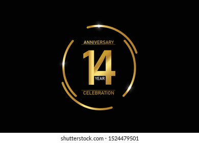 14 years anniversary celebration logotype. anniversary logo with circle golden and Spark light white color isolated on black background, vector design for celebration, invitation and greeting card