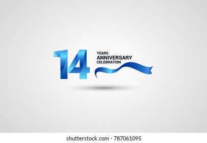 14 Years Anniversary celebration logotype colored with shiny blue, using ribbon and isolated on white background