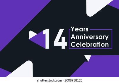 14 years anniversary celebration modern banner template design