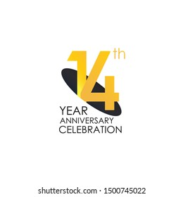 14 years anniversary celebration Yellow Color Design logotype. anniversary logo isolated on White background, vector Horizontal number design for celebration, invitation card, and greeting - Vector