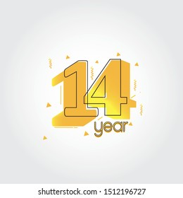 14 years anniversary celebration Yellow Colors Comical Design logotype. anniversary logo isolated on White background, vector Horizontal number design for celebration -vector