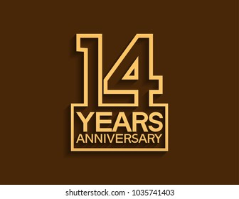 14 years anniversary design line style with square golden color for celebration event