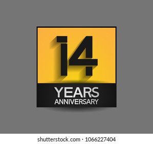 14 years anniversary design square style yellow and black color isolated on gray background for celebration event