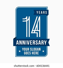 14 years anniversary design template. Vector and illustration.