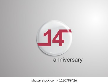 14 Years Anniversary Logo Celebration, red flat design inside 3d white rounded background