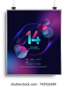 14 Years Anniversary Logo with Colorful Galactic background, Vector Design Template Elements for Invitation Card and Poster Your Birthday Celebration.