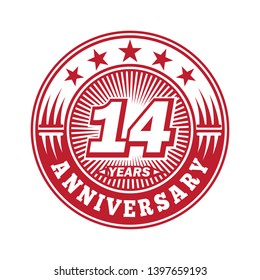 14 years anniversary. Anniversary logo design. Vector and illustration.