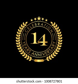 14 Years Anniversary Logo Template, isolated on black background. Vector illustration