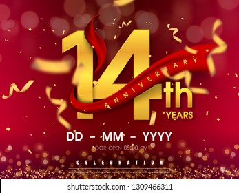 14 years anniversary logo template on gold background. 14th celebrating golden numbers with red ribbon vector and confetti isolated design elements