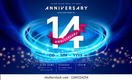 14 years anniversary logo template on dark blue Abstract futuristic space background. 14th modern technology design celebrating numbers with Hi-tech network digital technology concept design elements.