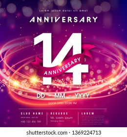 14 years anniversary logo template on purple Abstract futuristic space background. 14th modern technology design celebrating numbers with Hi-tech network digital technology concept design elements.