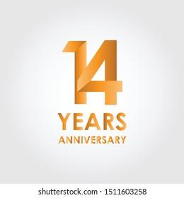 14 Years Anniversary logo template vector