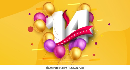 14 years anniversary logo template design on yellow background and balloons. 14th anniversary celebration background with red ribbon and balloons. Party poster, brochure template. Vector illustration.
