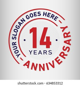 14 years anniversary logo template. Vector and illustration.