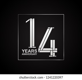 14 years anniversary logotype with cross hatch pattern silver color inside square.